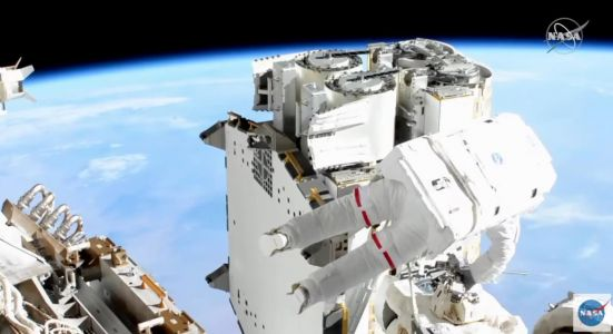 Spacewalkers run out of time before unrolling new space station solar array