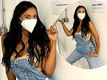 Maya Jama dons a protective mask as she attends rehearsals for Peter Crouch's new BBC show