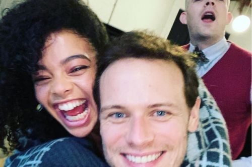Sam Heughan shares first look at new movie with Priyanka Chopra and Celine Dion