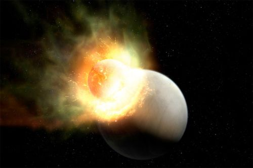 Exoplanet collision likely stripped away a terrestrial world's atmosphere