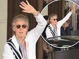 Paul McCartney waves to fans waiting for him outside hotel while he continues his world tour