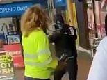 Tradie has a gun pointed at her as two masked armed robbers leave a jewellery store