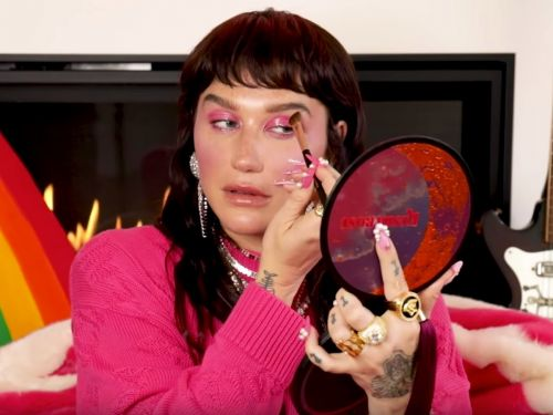 Watch Kesha give a makeup tutorial that involves putting lip gloss on your eyes and eyeliner on your lips