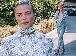Jaime King is beautiful in blue patterned top, jeans, and heels as she steps out on LA errand trip