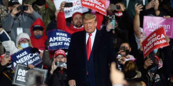 Trump told a rally crowd in swing-state Pennsylvania that he was only there because of how badly his campaign is going