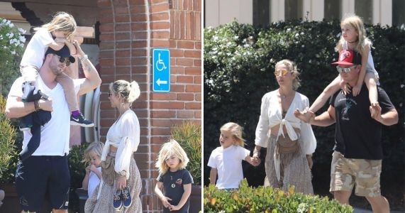 Chris Hemsworth and Elsa Pataky are couple goals as they go for lunch with their kids and uncle Luke