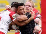 Rugby star Israel Folau REFUSES to take a knee before Catalans Dragons' defeat by St Helens