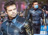 Sebastian Stan rocks blue leather jacket and matching face mask on set of Falcon and Winter Soldier
