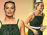 Margot Robbie takes to the stage in a strappy green jumpsuit at Producers Guild Awards in Hollywood