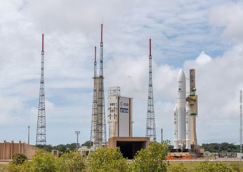 Ariane 5 rocket arrives at launch pad with two TV broadcast satellites
