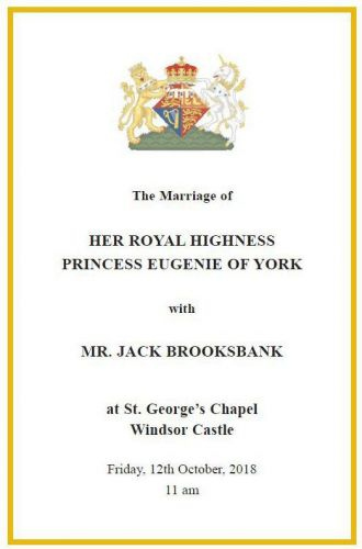 Read the full order of service for Princess Eugenie and Jack Brooksbank's royal wedding