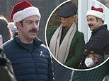 Jason Sudeikis continues to film Ted Lasso scenes in a Santa hat