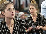 Ashley Benson parties with friends and family before watching the Yankees clobber the Royals