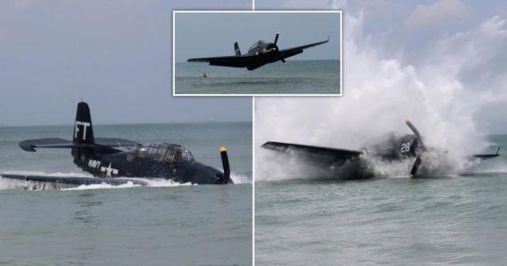 Plane crash lands on busy Florida beach as stunned swimmers watch on