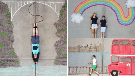Siblings chalk stunning murals on driveway to 'travel the world' from home during lockdown