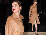 Amber Heard looks sensational in camel wrap coat during Paris Haute Couture Fashion Week
