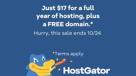 Get web hosting and a domain for only $17 for a whole year thanks to HostGator's sale
