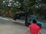 At least one dead and 10 injured after forklift truck deliberately rams into cars in China