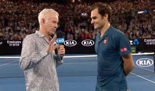 Roger Federer laughs at Australian Open fan as John McEnroe makes Rafael Nadal joke
