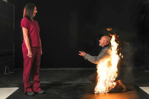 Stuntman surprises Covid-19 nurse girlfriend by proposing to her while on fire