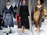 1980s modelling legend Yasmin Le Bon struts on the Fendi runway during Milan Fashion Week