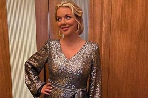 Sheridan Smith glows as she returns to work three months after welcoming son