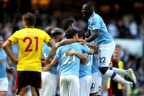 Man City score five goals in 18 minutes against Watford to smash Premier League record