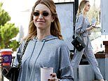 Whitney Port looks extremely cozy in a matching grey ensemble as she stops for coffee in Los Angeles