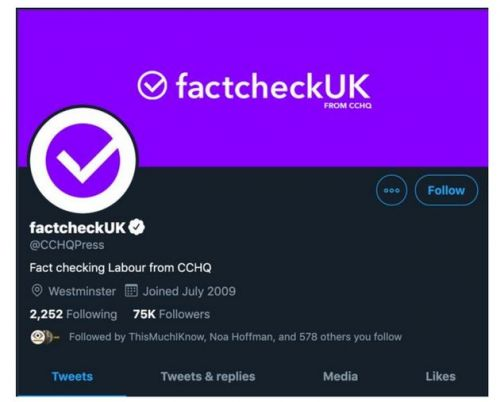 Twitter Says It Will Take 'Corrective Action' Against Tories If They Repeat 'Fact Check' Rebranding Stunt