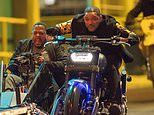 Will Smith hops on a motorcycle with Martin Lawrence in the sidecar as duo film Bad Boys for Life