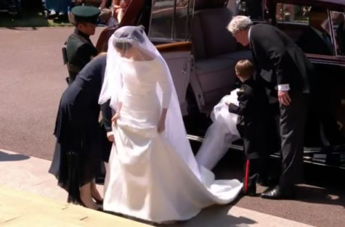 The Dress! First Glimpse Of Meghan Markle's Wedding Gown As She Sets Off For Windsor Castle