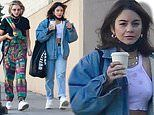 Vanessa Hudgens bundles up in double denim while teasing her tight tummy with pal GG Magree in LA
