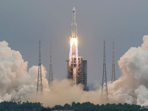 Pieces of a runaway Chinese rocket have rained down on the Indian Ocean, quelling fears it would hit people or property