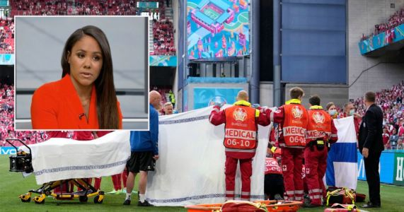Alex Scott breaks down in tears at Christian Eriksen collapse at Euro 2020 as viewers upset TV coverage wasn't cut sooner