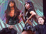 Kelly Rowland wows the crowd as she performs in a sequined leotard at Everest Race Day in Sydney
