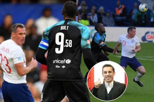 Gary Neville's one-word response to Jamie Carragher's Soccer Aid 2019 shocker