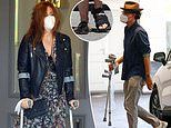 Isla Fisher is seen using crutches after visiting St Vincent's clinic in Sydney
