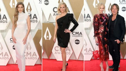 Gigi Hadid is a red carpet dream while co-stars Reese Witherspoon and Nicole Kidman reunite at Country Music Awards