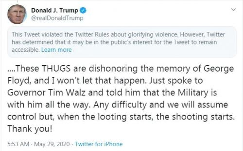 Twitter hides Donald Trump tweet for 'glorifying violence'