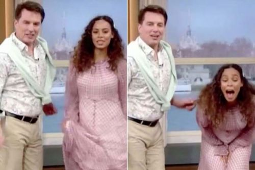 Rochelle Humes almost FLASHES live on This Morning in dance routine gone-wrong