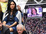 Meghan Markle on the big screen at BFF Serena Williams tennis match in New York
