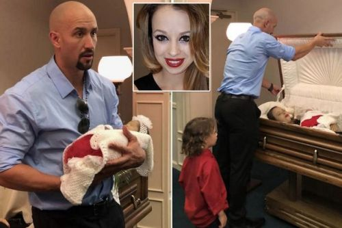 Painful reason why husband shared photos of dead wife and unborn baby lying in their coffin