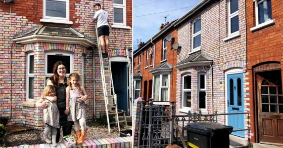 Family colour every brick of their house to cheer up neighbours during lockdown