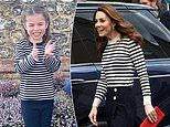 Princess Charlotte is the spitting image of mum Kate Middleton in nautical striped top