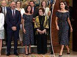 Queen Letizia of Spain looks stylish in a £70 Zara dress as she hosts audiences at her Madrid palace