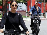 Emma Slater and her husband Sasha Farber take a ride through LA on their electric bikes