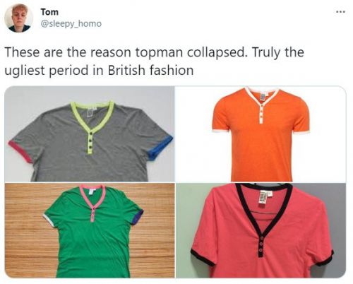 Men on Twitter are sharing memories of that classic Topman T-shirt