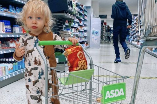 Stacey Solomon takes Rex out food shopping with his own mini Asda trolley