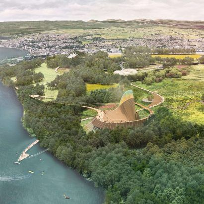 Grimshaw releases visuals of Eden Project Foyle with thatched centrepiece