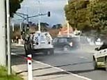 Wild chase ends as police cars slam into a speeding Volkswagen - just metres from a school crossing